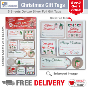Silver Foil Christmas Gift Tag Stickers 55 Pieces 1702 GBP 1.49