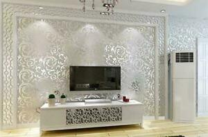 Silver Victorian 3D Wall Sticker Damask Embossed Wallpaper - Home Decor - New