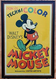 Original 1935 Micky Mouse Now in Technicolor 27x41 Movie Poster