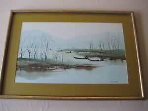 Original Watercolor Fishing On River Framed Signed By Tep. Wasithe 22quot; X 13quot;