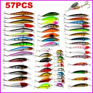 57Pcs Bait Fishing Bass Lure Topwater Carp fishing Bait Kit Kooks Suit Sale Art