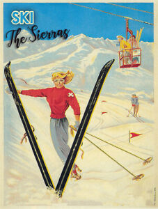 Ski The Sierras Metal Sign Vintage Mountain Home Decor FREE SHIPPING