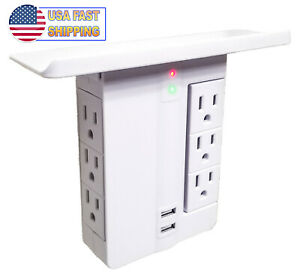 Wall Rotating Power Outlet Shelf Electrical Socket Wall Stand 6 Plugs + 2 USB