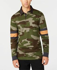 $96 American Rag Men Green Long Sleeve Rugby Classic Fit Camouflage Polo Shirt M