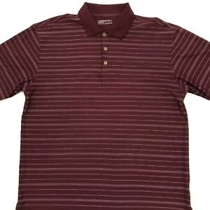 Nike Golf Mens Fit Dry Polo Shirt Maroon Red White Striped Size Large. C9