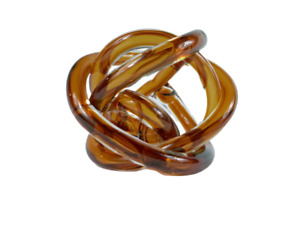 VTG MCM Abstract Hand Blown Amber Colored Art Glass Rope Knot Sculpture 6