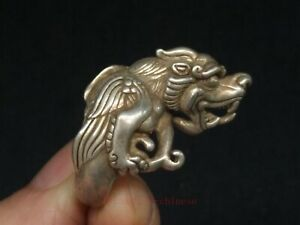 Antique Collection China Tibet Silver Carving Dragon Statue Ring Wonderful Gift