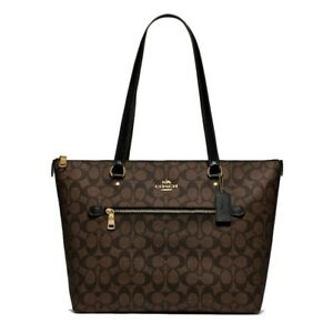 NWT COACH Tote Signature Canvas Shoulder Classic Brown Gold Logo F79609 FREE SHP