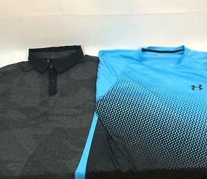 Lot of 2 UNDER ARMOUR Mens Heatgear Polo And T Shirts Mens Loose Fit Size XL