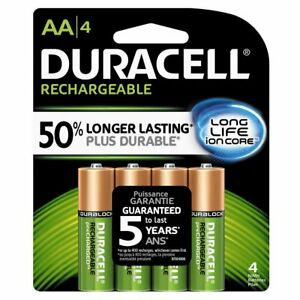 4 Duracell AA Rechargeable NiMH Batteries 2500 mAh DX1500