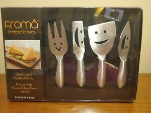 Set of 4 Cheese Knives by Prodyne - Stainless Steel with Smiley Face Design