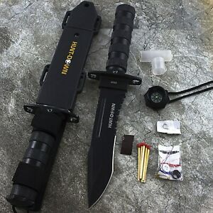 12 HUNTING KNIFE w TACTICAL SURVIVAL KIT Bowie Fixed Blade Drop Point Combat
