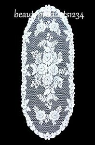 HERITAGE LACE RUNNER White VICTORIAN ROSE 13quot; x 36quot; Made USA LACE $13.95