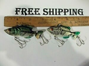 LOT OF 2 Vintage Mann's LeRoy Brown Fishing Lure 2 DIFFERENT COLORS NICE LOT