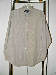 Brooks Brothers Button Front Shirt Man's L Brown White Check Plaid Sport Dress