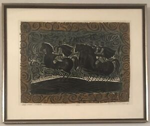 Funky mid century modern lithograph. Signed illegibly dated 1969 numbered 3 20 $69.95