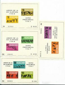 MEXICO 1967 PRE OLYMPIC SET OLYMPIC GAMES 1968 4 SOUVENIR SHEET DIFF MNH