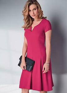 Versatile Hot Pink Textured Easy on Stretch Fit and Flare Dress size 10