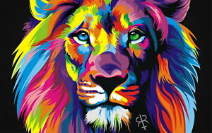60905 Colorful Lions Animals Decor Wall Print POSTER
