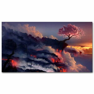 64234 Sunset-Volcanic Eruptions Lava Landscape Plants Decor Wall Print POSTER