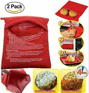 Potato Express Microwave Potato Cooker 2 Pack Fast in 4 mins Reusable Washable