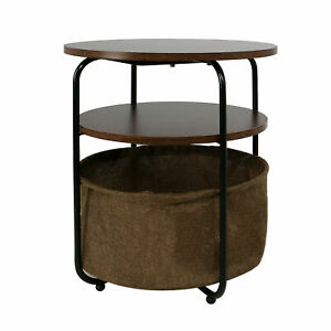 Small Round End Side Living Room Coffee Table Bedroom Storage Shelf Organizers
