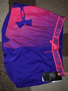 NWt UNDER ARMOUR Girls Play Up Purple Pink Loose HEATGEAR Shorts Large