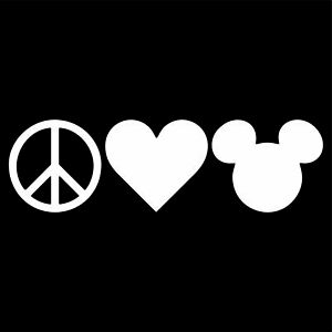 Peace Love Mickey Mouse Decal Sticker Choose Color amp; Size Disney