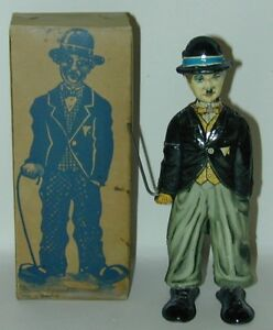 RARE!  German Lithographed Tin WU Toy Charlie Chaplin In Original Box 1920s