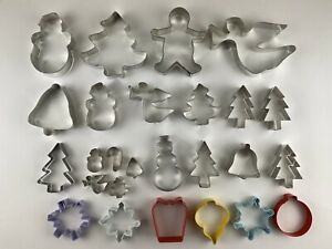 ASSORTED CHRISTMAS COOKIE CUTTER LOT Metal 26 Pcs. Good Condition