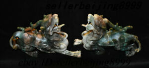 Old China Dushan Jade Stone Carving Pixiu Brave troops Unicorn Beast Statue Pair