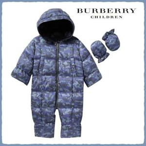 BURBERRY BABY ALEXIS DOWN HOODED SNOWSUIT SLATE BLUE SIZE18 MONTHS NWT $395 $189.95