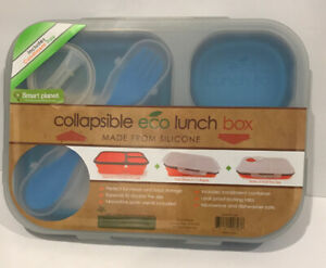 Smart Planet EC 34 Large 3 Compartment Eco Silicone Collapsible Meal Kit BlueNEW