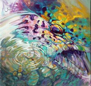Savlen FLY Fishing TROUT PAINTING Mayfly ABSTRACT LG Original GICLEE Art SIGNED