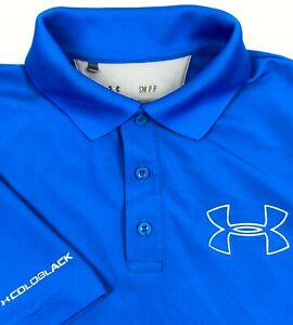 Under Armour Code Black Blue Loose Fit Golf Polo - Mens Small S