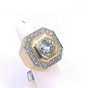 David Webb Designer 18K Yellow Gold Diamond Ring
