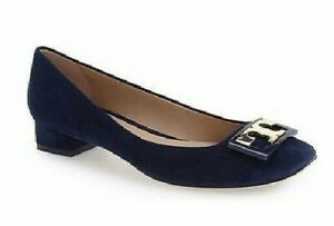 Tory Burch Women's Gigi Block Heel Royal Navy Suede Pump Size 8 M