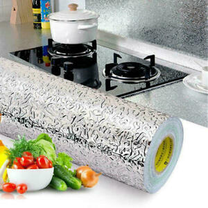 Self Adhesive Aluminum Foil Kitchen Cabinet Wall Sticker Wallpaper Oil-proof USA