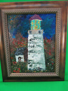 Lighthouse Oil painting signed DGray Abstract on Canvas Broad w Frame $39.00