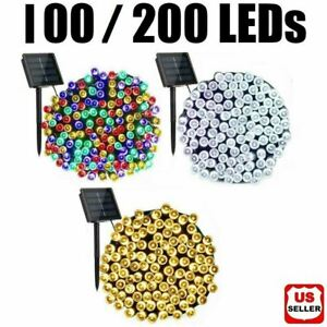 100 200 LED Solar String Fairy Lights 8 Mode Waterproof Outdoor Party Decoration $16.98