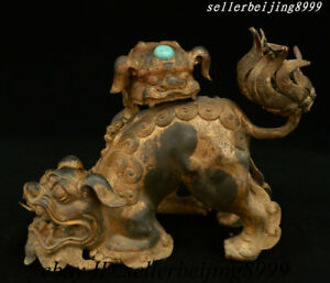 Antique Old China Bronze Gilt Turquoise Lion Beast Incense Burner Censer Statue