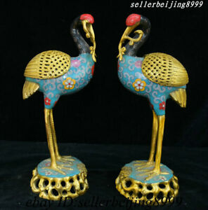 12 China Bronze Cloisonne Palace Red crowned Crane Statue Incense Burner Censer