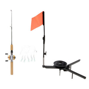 Ice Fishing Rod Pole and Reel Line Combo & Ice Tip-Up Travel Carp Fishing Tackle