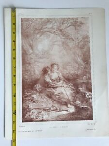 Original Antique 19th Century Lithograph Annette's Awakening Boucher Wattier $28.86
