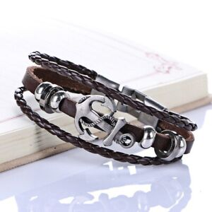 Harajuku Personality Alloy Buckles Punk Brown Leather Anchor Men#x27;s Bracelets
