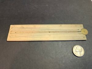 Rare Antique Folding Engineer's Angle Ruler Bone & Brass