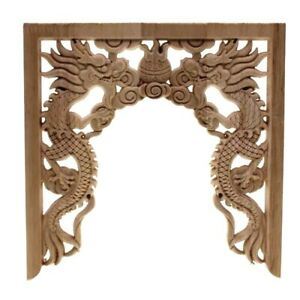 Double Dragon Applique Carved Corner Frame Chinese Niches Bead Floral Wood Decor