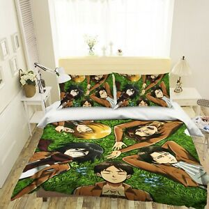 3D Lying On The Lawn To Sleep C374 Japan Anime Bed Quilt Duvet Cover Double Zoe