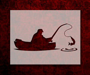 Man Fishing in Boat 8.5quot; x 11quot; Stencil FAST FREE SHIPPING 792