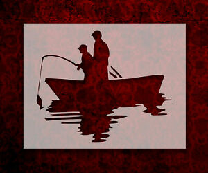 Father and Son Fishing in Boat 8.5quot; x 11quot; Stencil FAST FREE SHIPPING 793